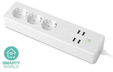 Extensão Tripla + 4 USB Inteligente Wi-Fi/Função Temporizador/Controlo Individual (1,75 mts) - GSC