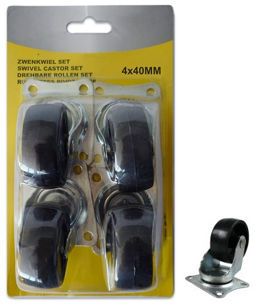 Pack 4x Rodas 4x 40mm (Preto) - ProFTC