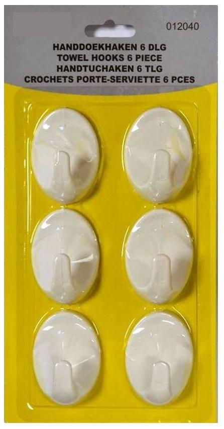 Pack 6x Apliques c/ Cola Dupla Face p/ Apoio de Utensilios de Casa/Trabalho - ProFTC