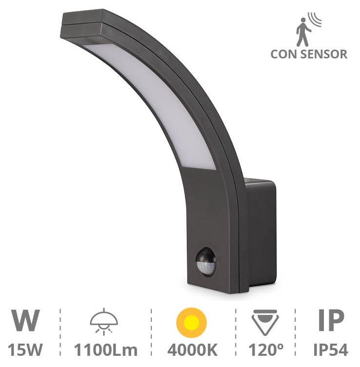 Candeeiro Interior/Exterior LED 15W 4000K 1100Lm c/ Sensor Movimento PIR (IP54) - GSC
