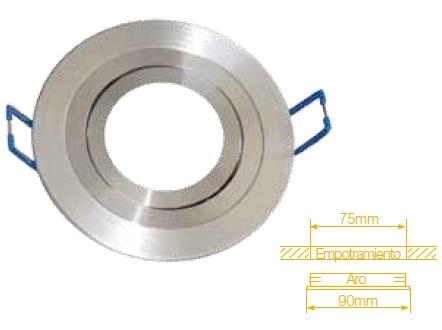 Aro Redondo Ajustável em Aluminio p/ Lampadas MR16-GU10