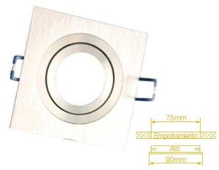Aro Quadrado Ajustável em Aluminio p/ Lampadas MR16-GU10