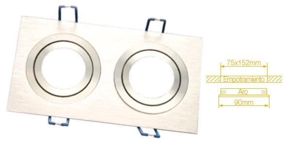 Aro Duplo Quadrado Ajustável em Aluminio p/ Lampadas MR16-GU10