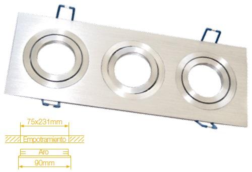 Aro Triplo Quadrado Ajustável em Aluminio p/ Lampadas MR16-GU10