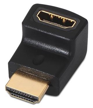 Adaptador HDMI Fêmea - HDMI Macho 90º Preto - Nanocable