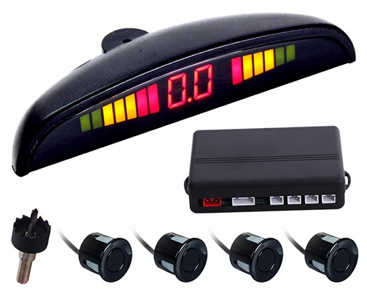 Kit 4 Sensores Estacionamento de Automóvel c/ Display - Preto