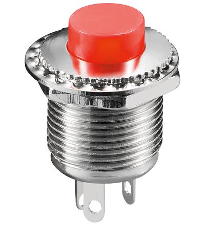 Pulsador Metálico OFF-ON 3 Pinos Vermelho