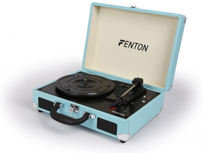 Gira Discos 33/45 RPM c/ Colunas em Mala Transporte Azul (RP115) - FENTON