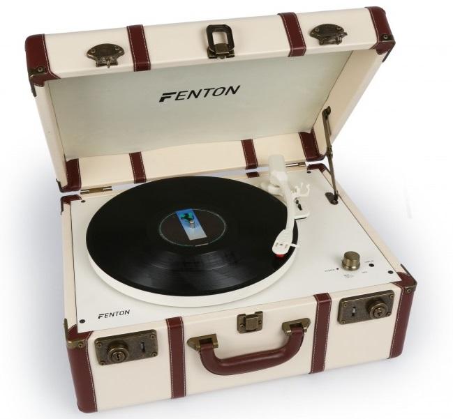 Gira Discos RETRO 33/45/78 RPM em Mala de Madeira Vintage em Pele c/ Colunas (RP145) - FENTON