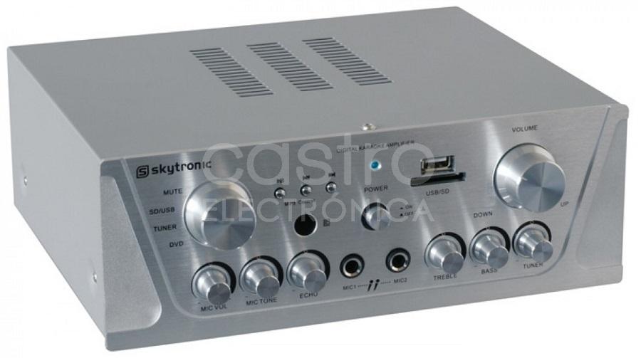 Amplificador de Karaoke (FM/SD/USB/MP3) 2x 50W RMS Cinza - Skytronic
