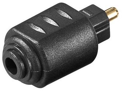 Adaptador Óptico Jack 3,5mm (Mini Toslink) Femea -> Toslink Macho