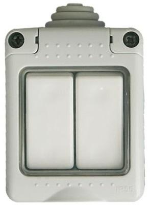 Interruptor Duplo Comutador 10A 250V Série Estanque (66x82x66mm) - GSC