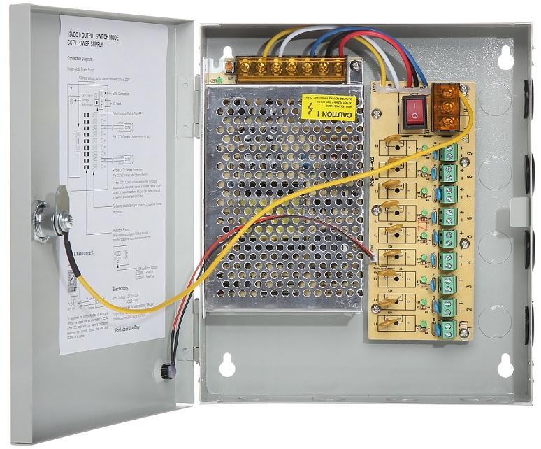 Caixa Segurança / Fonte Alimentação Comutada 12VDC 100W 8A (9 Saídas) - ProFTC