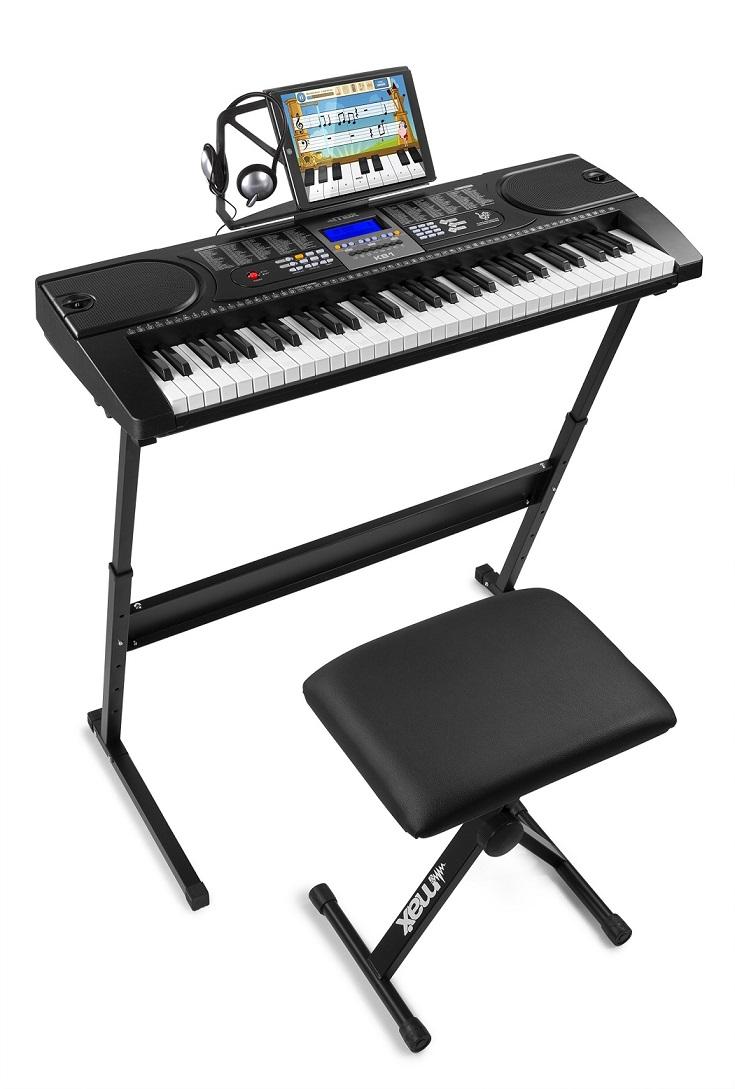 Kit Piano Eletrónico KB1SET 61 Teclas + Acessórios - MAX