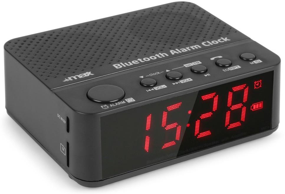 Rádio Relógio Despertador FM c/ Leitor USB/SD e Bluetooth + Bateria (MX4) - MAX