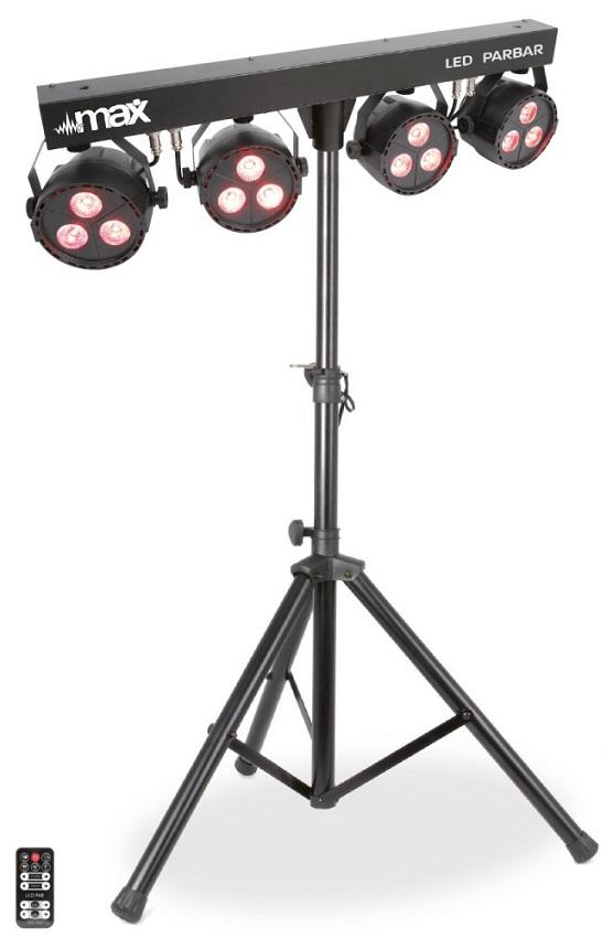 Barra LEDs Portátil c/ 4 Projectores LED 3x 4-EM-1 RGBW + Tripé - MAX