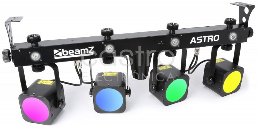 Barra LEDs Portátil c/ 4 Projectores LED ASTRO 20W COB + Strobs DMX (Profissional) - beamZ