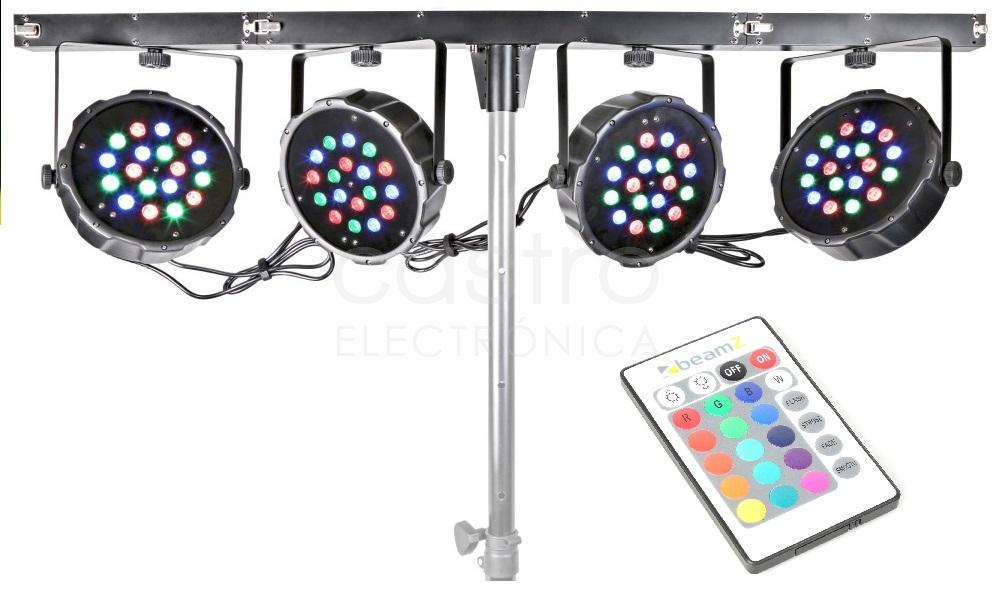Barra LEDs Portátil c/ 4 Projectores LED 18x 1W RGB DMX - beamZ