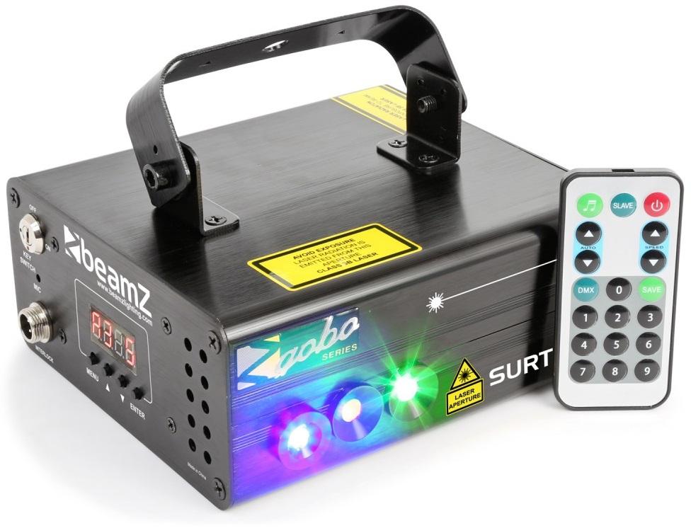 Laser Duplo Vermelho/Verde 225/80mW DMX c/ LED Azul 3W + Comando (SURTUR II) - beamZ
