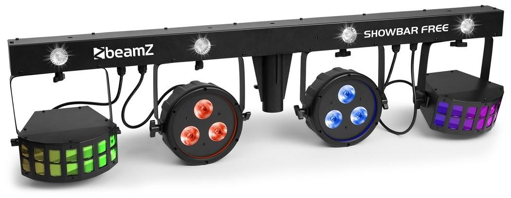 Barra Portátil 4 EM 1 c/ 2 Focos PAR, 2 Projectores Efeitos Derby e Strobe DMX - beamZ