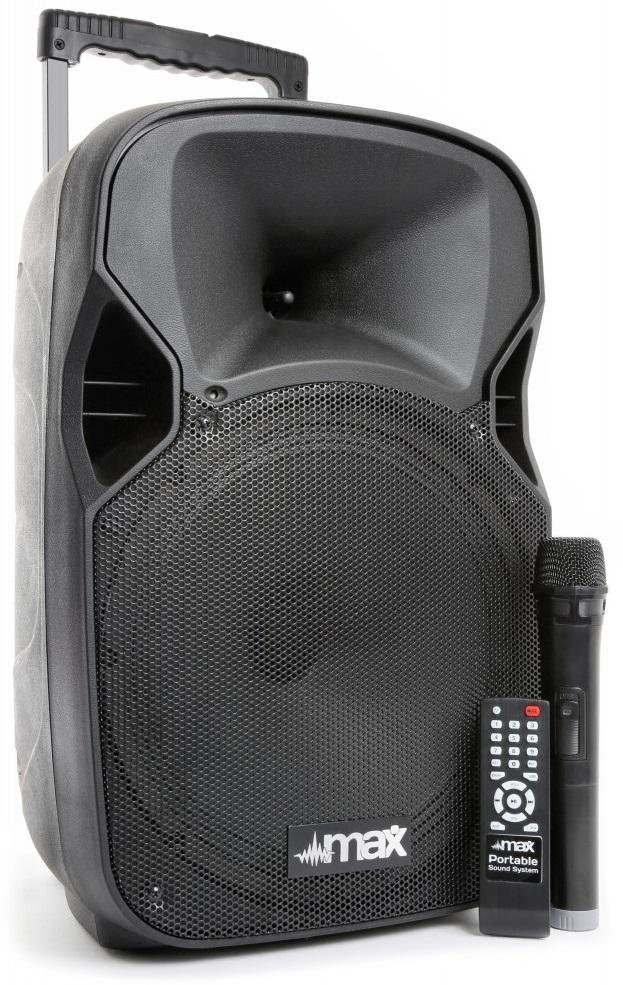 Coluna Amp. Portátil 12 700W MP3/USB/SD/BLUETOOTH + Microfone s/ Fios (P12BT) - MAX