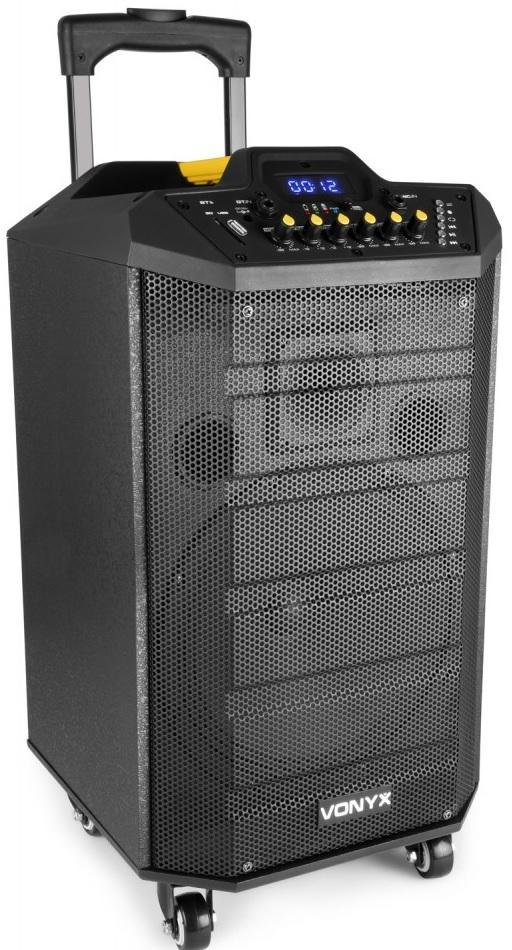 Coluna Amp. Portátil 10 250W c/ Leitor MP3/USB/SD/AUX/BLUETOOTH + Microfone s/ Fios (VPS10) - VONYX