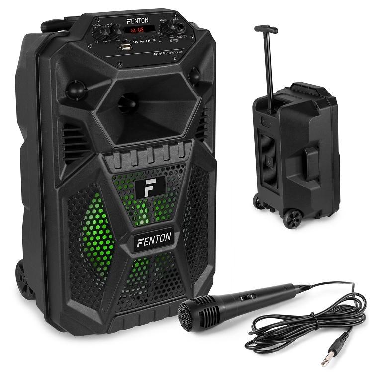 Coluna Amp. Portátil 8 50W c/ Leitor MP3/USB/SD/BLUETOOTH + Microfone/Trolley (FPC8T) - FENTON
