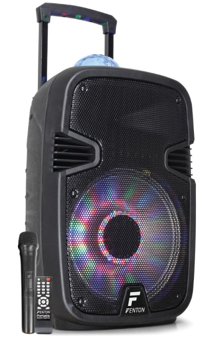 Coluna Amp. Portátil 12 700W BLUETOOTH/USB/SD/MMC/UHF c/ Efeitos Luminosos em LED (FT12JB) - FENTON