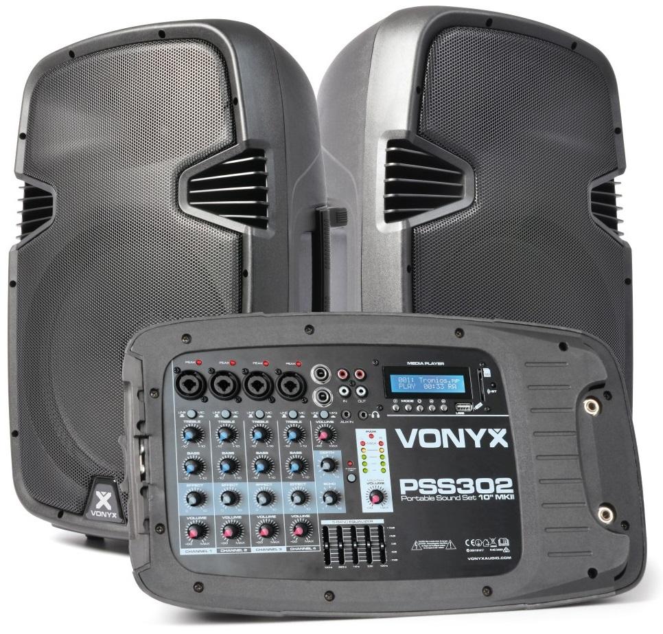 Sistema de Som Portátil 10 300W (Mesa Mistura + 2 Colunas + Tripés + Microfone) PSS302 - VONYX