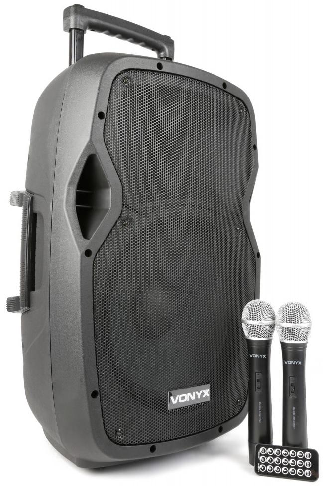 Coluna Amp. Portátil 12 600W MP3/USB/SD/BLUETOOTH c/ 2x Microfone s/ Fios (AP1200PA) - VONYX