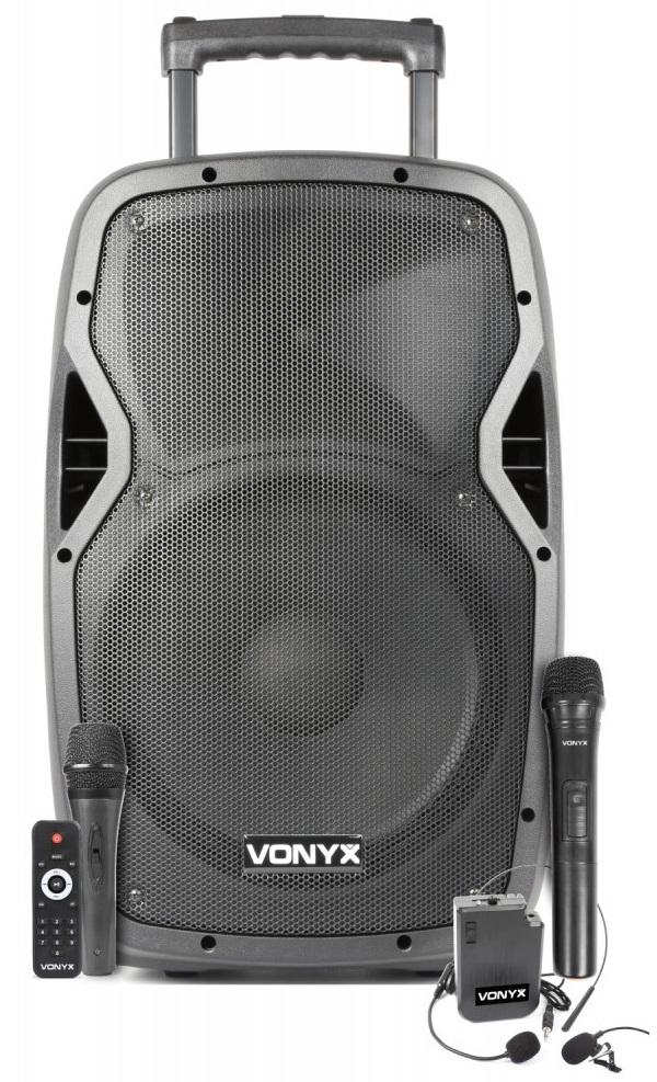 Coluna Amp. Portátil 12 600W MP3/USB/SD/BLUETOOTH c/ 3x Microfones UHF (AP1200PA) - VONYX