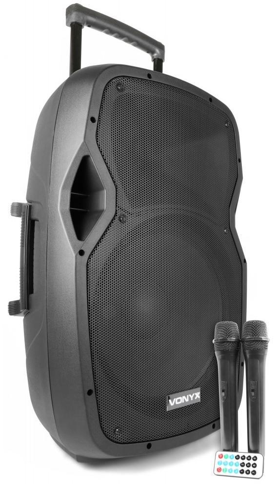 Coluna Amp. Portátil 15 800W MP3/USB/SD/BLUETOOTH c/ 2x Microfone s/ Fios (AP1500PA) - VONYX