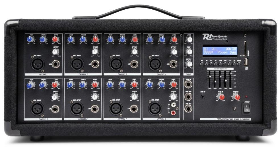 Mesa de Mistura Amplificada 8 Canais 800W c/ USB/MP3/AUX/BLUETOOTH (PDM-C805A) - Power Dynamics