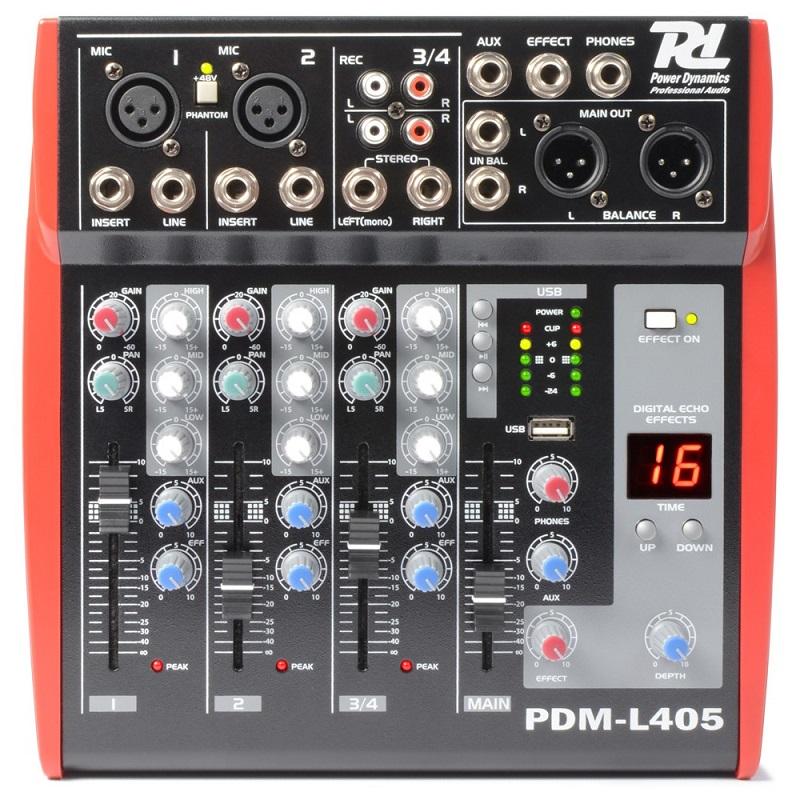 Mesa de Mistura 4 Canais c/ USB MP3 ECHO EQ (PDM-L405) - Power Dynamics