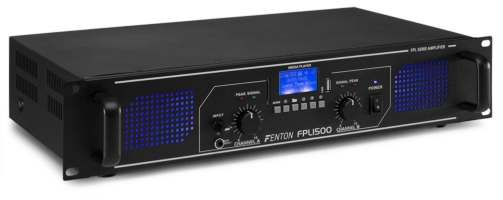 Amplificador PA Digital 1500W 19 USB/SD/AUX/RCA/BLUETOOTH + EQ (FPL1500) LEDs Azuis - FENTON