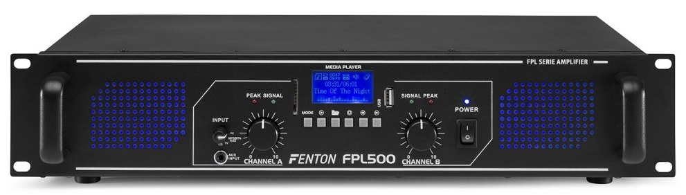 Amplificador PA Digital 2x 250W 19 MP3/USB/SD/BLUETOOTH + EQ (FPL500) LEDs Azuis - FENTON