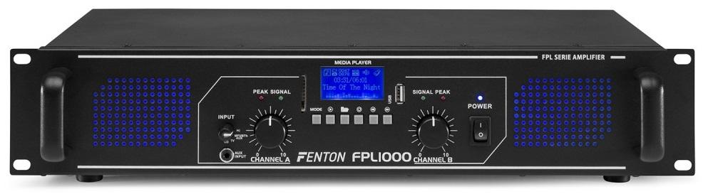 Amplificador PA Digital 2x 500W 19 MP3/USB/SD/BLUETOOTH + EQ (FPL1000) LEDs Azuis - FENTON