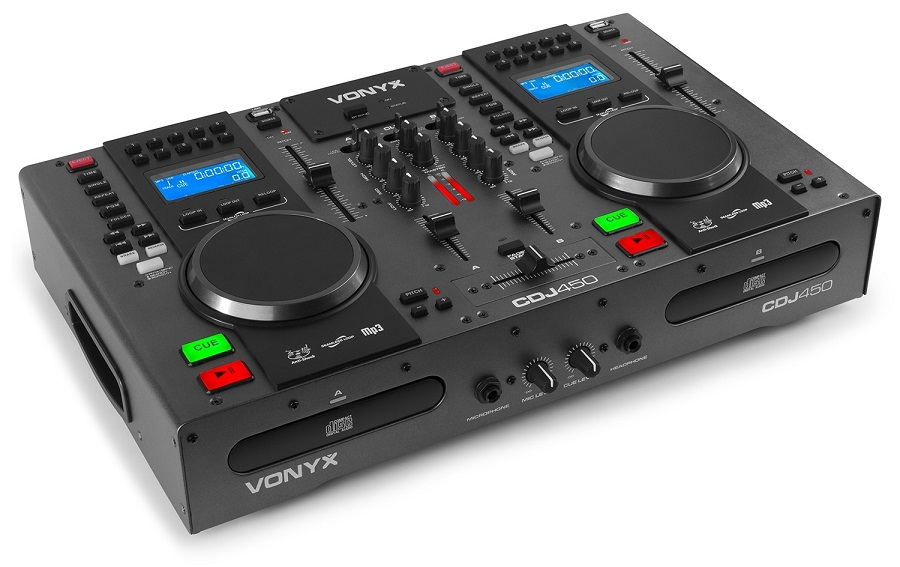 Controlador DJ Duplo CD/MP3/USB/BLUETOOTH (CDJ450) - VONYX