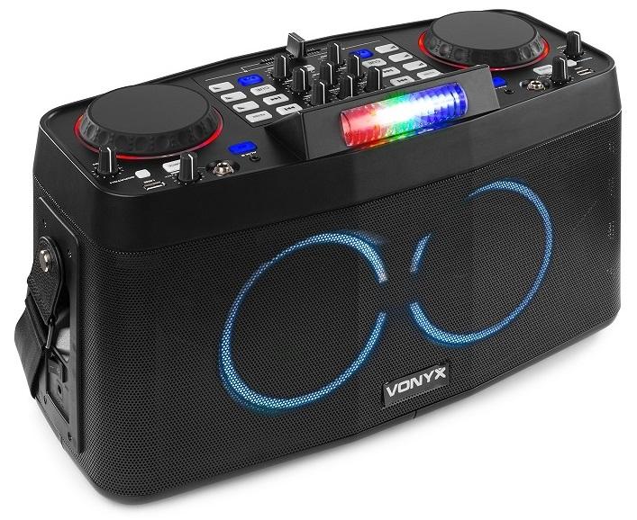 Consola de Som DJ Portátil 120W Efeitos LED RGB c/ Leitor Duplo Bluetooth + USB (CDP800) - VONYX