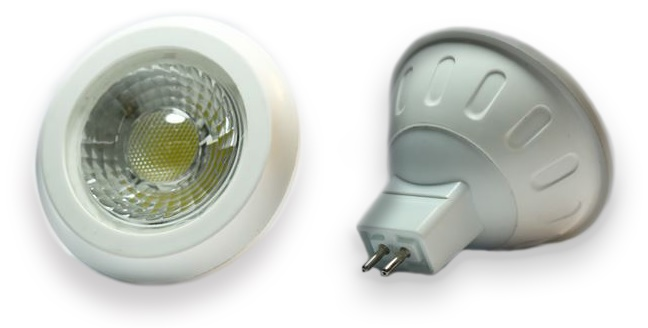 Lampada LED COB 12V MR16 6W Branco F. 6000K 120º 330Lm