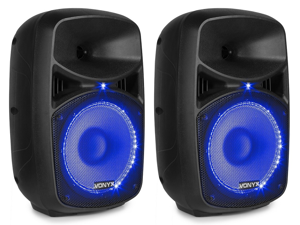 Pack 2 Colunas (Activa + Passiva) 8 400W MP3/USB/SD/Bluetooth c/ Microfone + Cabos (VPS082A) - VONY