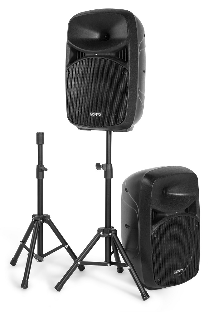 Pack 2 Colunas (Activa + Passiva) 10 600W MP3/USB/SD/Bluetooth c/ Tripés + Mic + Cabos (VPS102A)