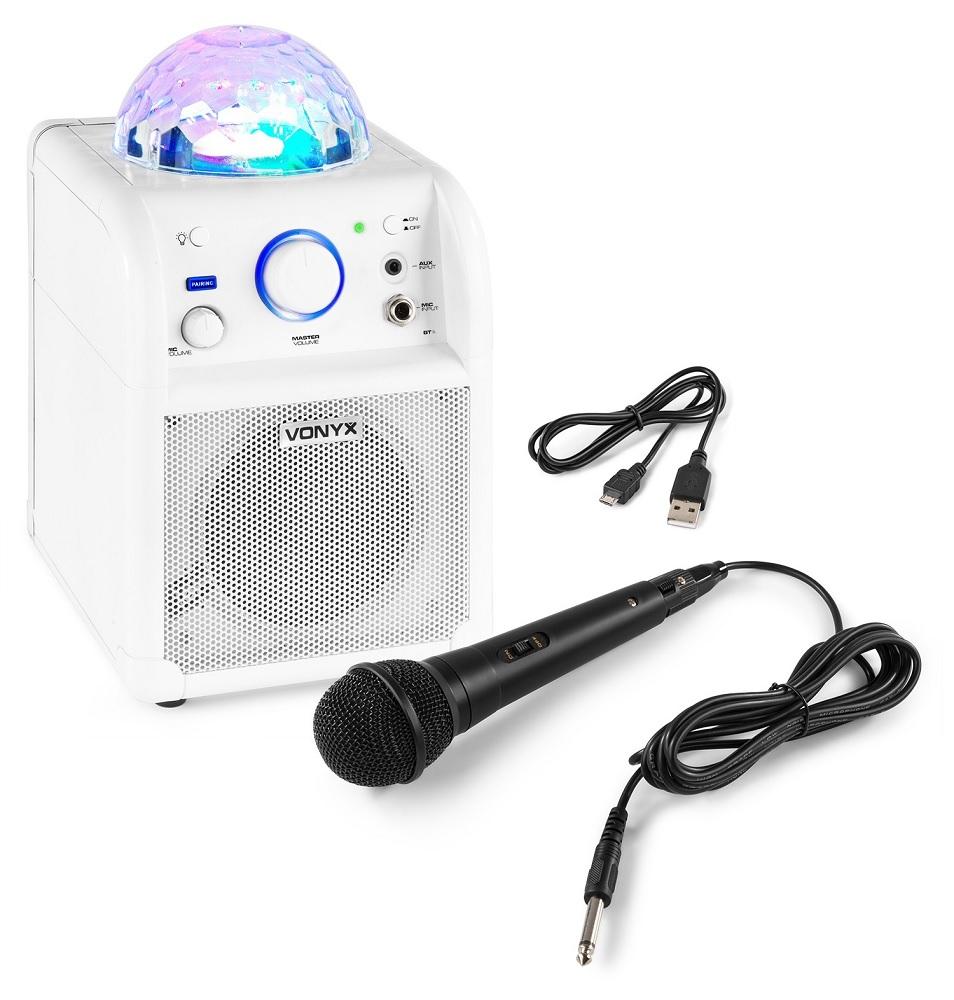 Coluna Portátil 50W Bluetooth c/ Microfone c/ Efeitos de LED RGB (Branca) SBS50W - VONYX