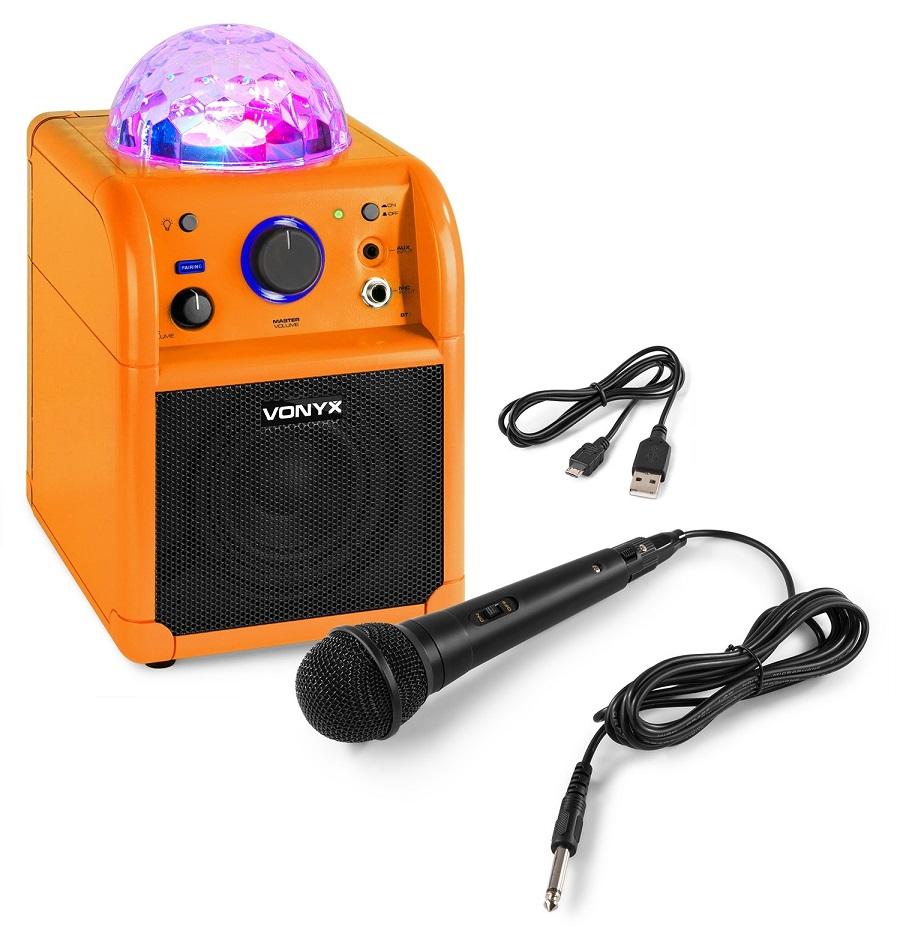 Coluna Portátil 50W Bluetooth c/ Microfone c/ Efeitos de LED RGB (Laranja) SBS50L - VONYX