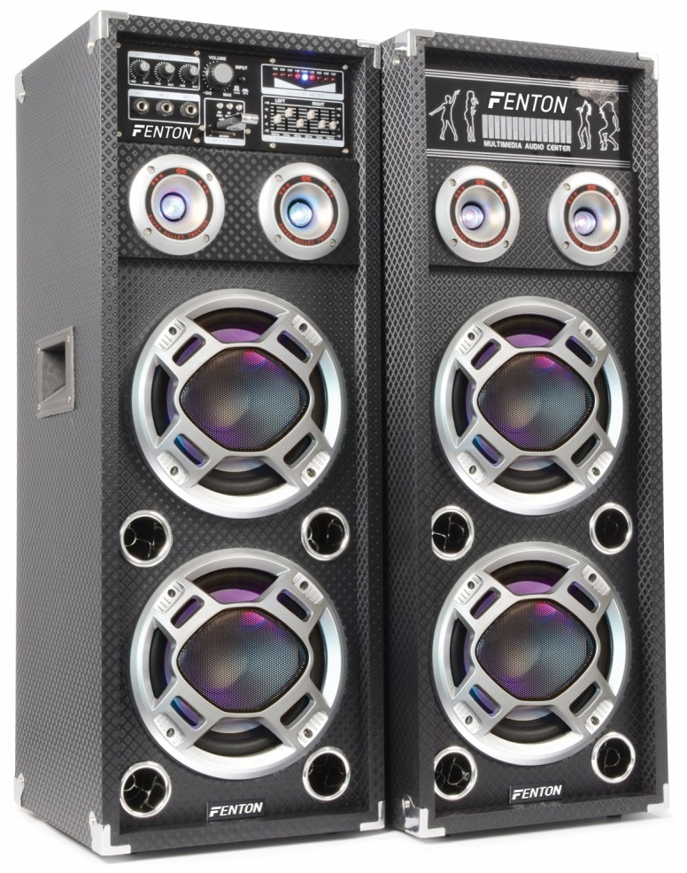 Pack 2x Colunas Amplificadas 2x 6,5 800W MP3 USB/SD RGB LED (KA-26) - FENTON
