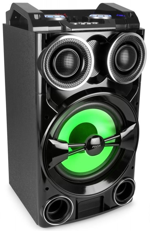 Consola de Som Portátil DJ 10 300W c/ USB/SD/MP3/BLUETOOTH e Efeitos LED (Preto) PLAY102 - FENTON