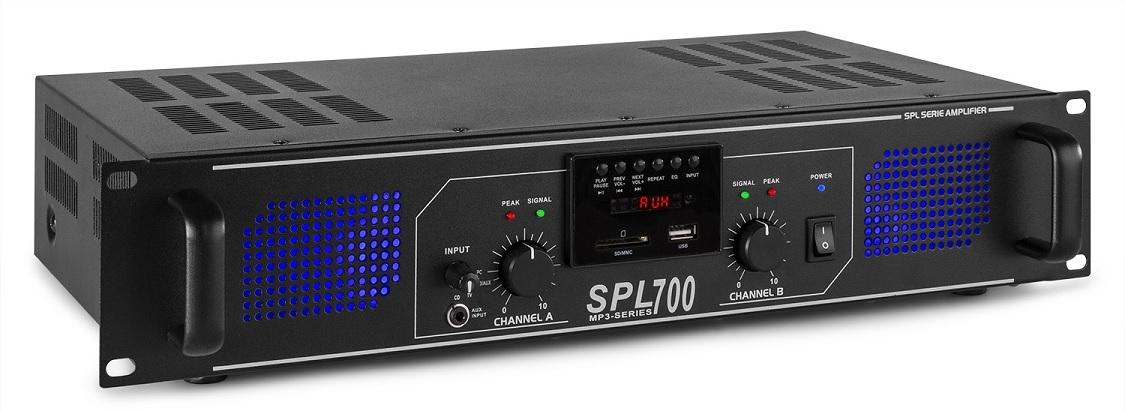 Amplificador PA 2x 350W FM/MP3 USB/SD 19 c/ Comando (SPL700MP3) - SPL