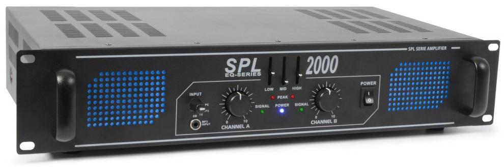 Amplificador PA 2x 1000W 19 c/ Equalizador (SPL2000EQ) LEDs Azuis - SPL