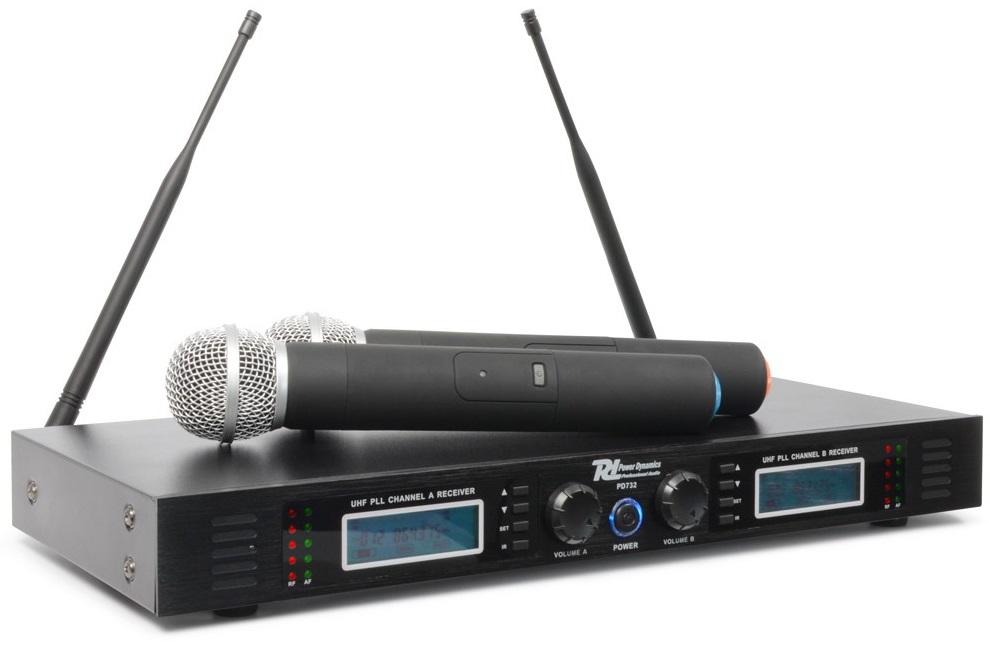 Central 2 Microfones Mão UHF 16 Canais s/ Fios (PD732H) - Power Dynamics