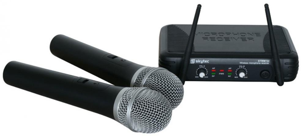 Central 2 Microfones Mão UHF 2 Canais s/ Fios (STWM722) - Skytec